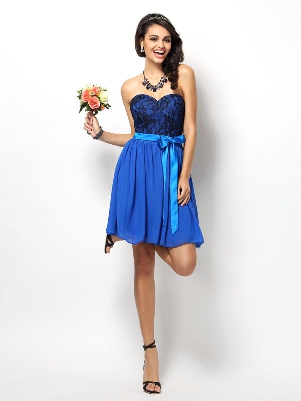 A-Line/Princess Sweetheart Lace Sleeveless Short Chiffon Bridesmaid Dresses