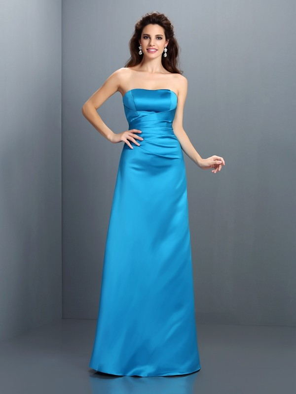A-Line/Princess Strapless Sleeveless Long Satin Bridesmaid Dresses