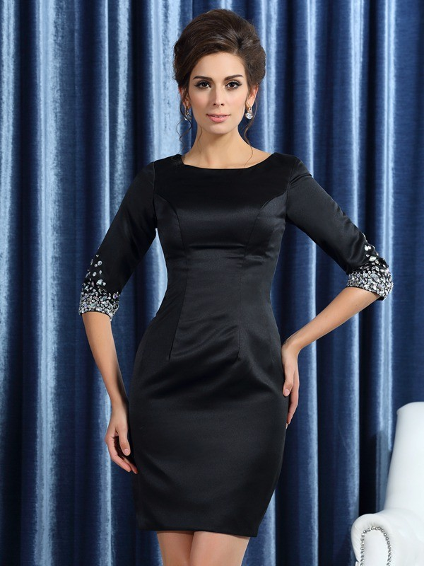 Sheath/Column Square Beading 1/2 Sleeves Short Satin Mother of the Bride Dresses