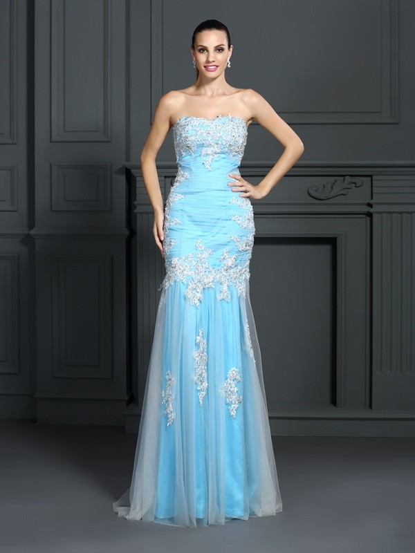 Trumpet/Mermaid Strapless Applique Sleeveless Long Elastic Woven Satin Dresses