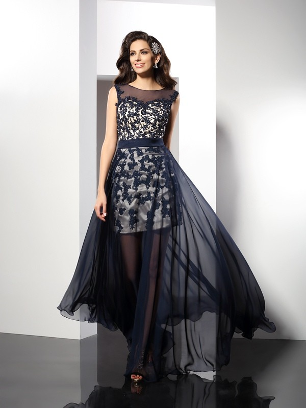 A-Line/Princess Scoop Sleeveless Long Elastic Woven Satin Dresses