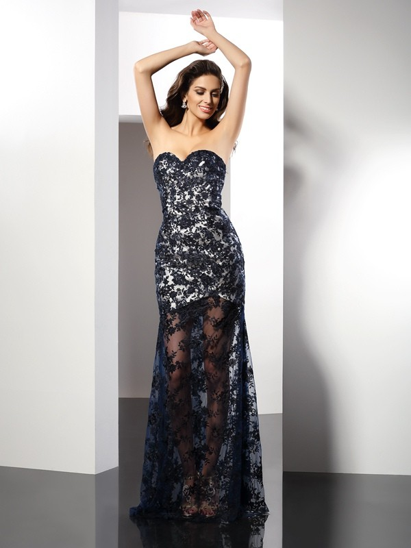 Sheath/Column Sweetheart Lace Sleeveless Long Satin Dresses