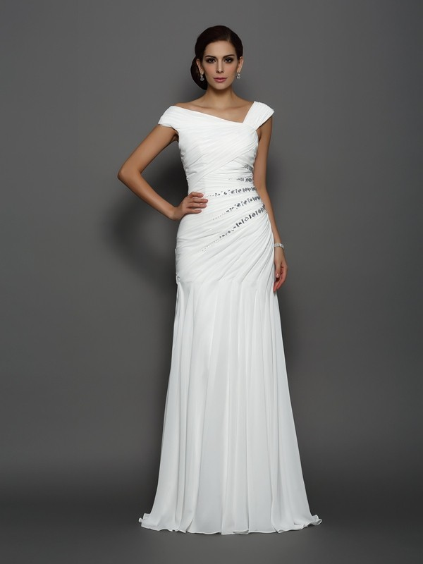 Trumpet/Mermaid Beading Sleeveless Long Chiffon Dresses