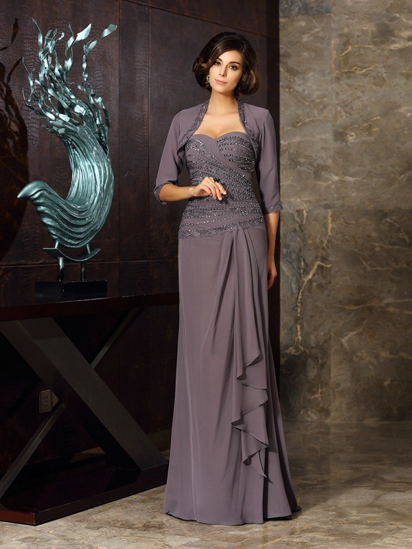 Sheath/Column Sweetheart Beading Applique Sleeveless Long Chiffon Mother of the Bride Dresses