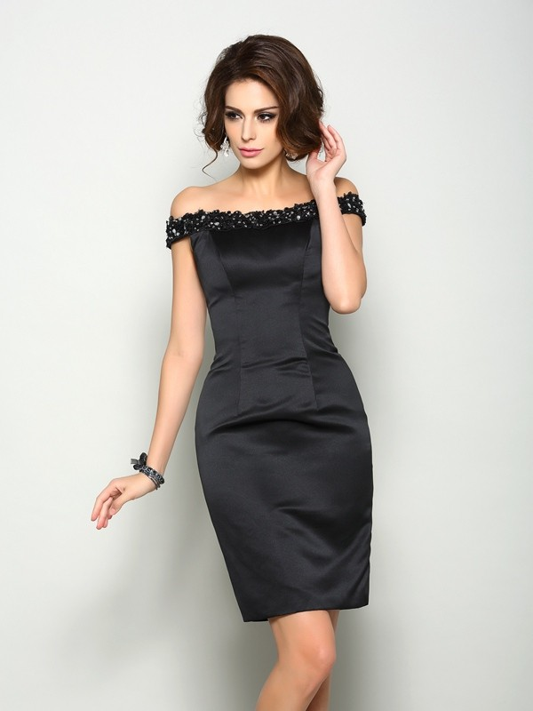 Sheath/Column Off-the-Shoulder Beading Sleeveless Short Satin Mother of the Bride Dresses