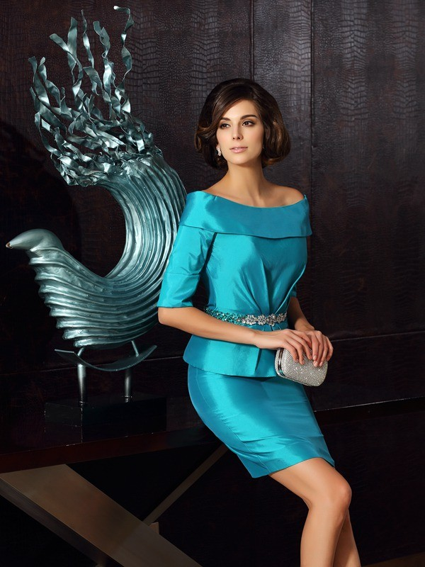 Sheath/Column Off-the-Shoulder 1/2 Sleeves Short Taffeta Mother of the Bride Dresses