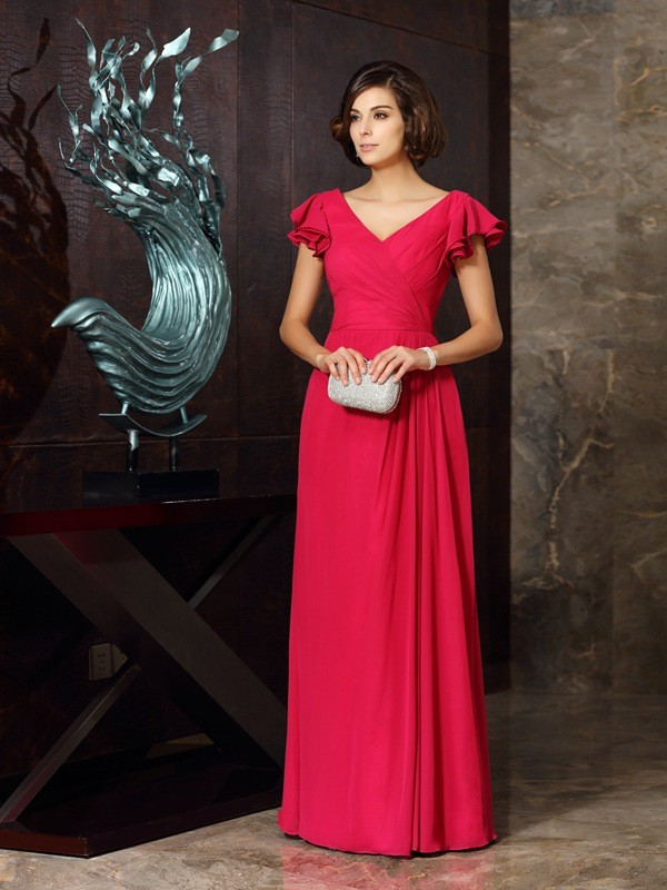 A-Line/Princess V-neck Ruched Short Sleeves Long Chiffon Mother of the Bride Dresses