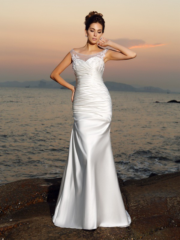 Trumpet/Mermaid Scoop Beading Sleeveless Long Satin Beach Wedding Dresses
