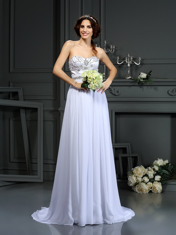 A-Line/Princess Sweetheart Beading Sleeveless Long Chiffon Wedding Dresses