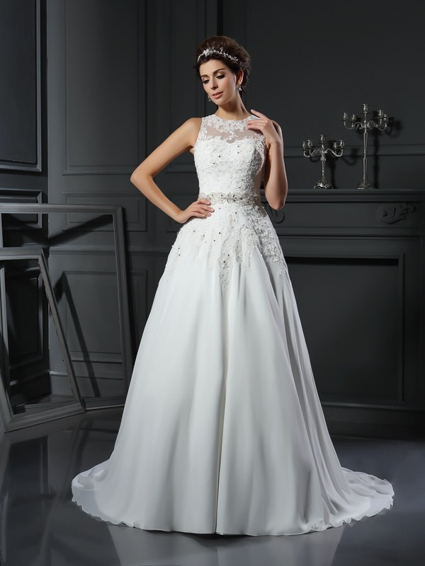 A-Line/Princess High Neck Beading Sleeveless Long Satin Wedding Dresses