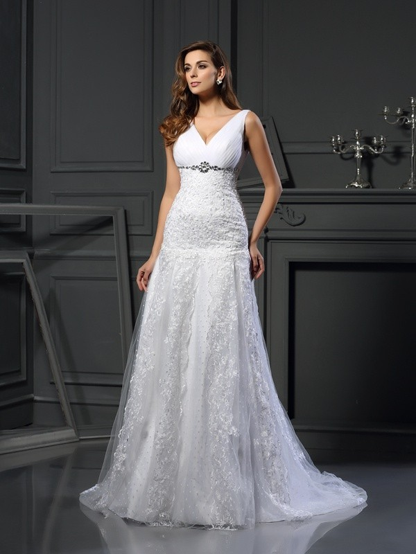 A-Line/Princess V-neck Beading Sleeveless Long Satin Wedding Dresses