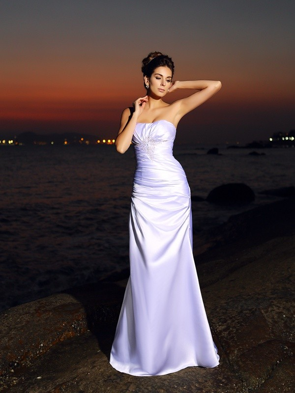 Trumpet/Mermaid Sweetheart Sleeveless Long Elastic Woven Satin Beach Wedding Dresses