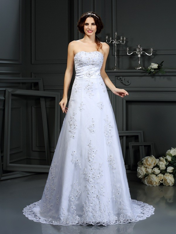 A-Line/Princess Strapless Applique Sleeveless Long Satin Wedding Dresses
