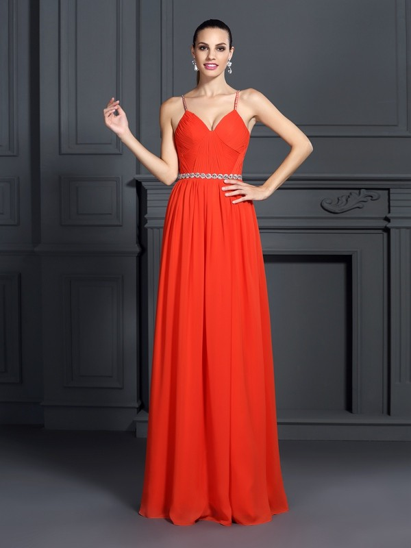 A-Line/Princess Spaghetti Straps Beading Sleeveless Long Chiffon Dresses