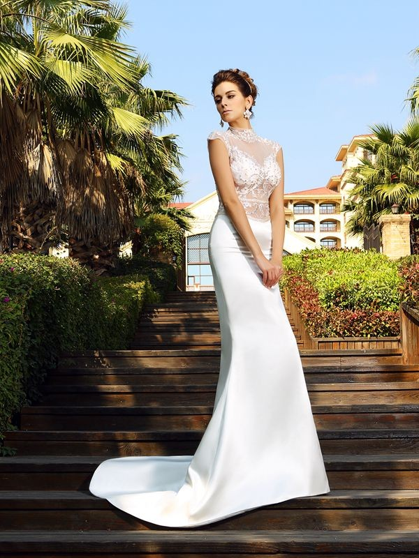 Trumpet/Mermaid High Neck Beading Sleeveless Long Satin Dresses