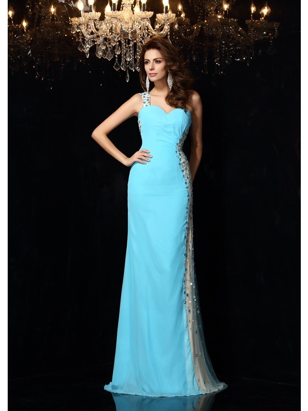 Sheath/Column One-Shoulder Rhinestone Sleeveless Long Chiffon Dresses