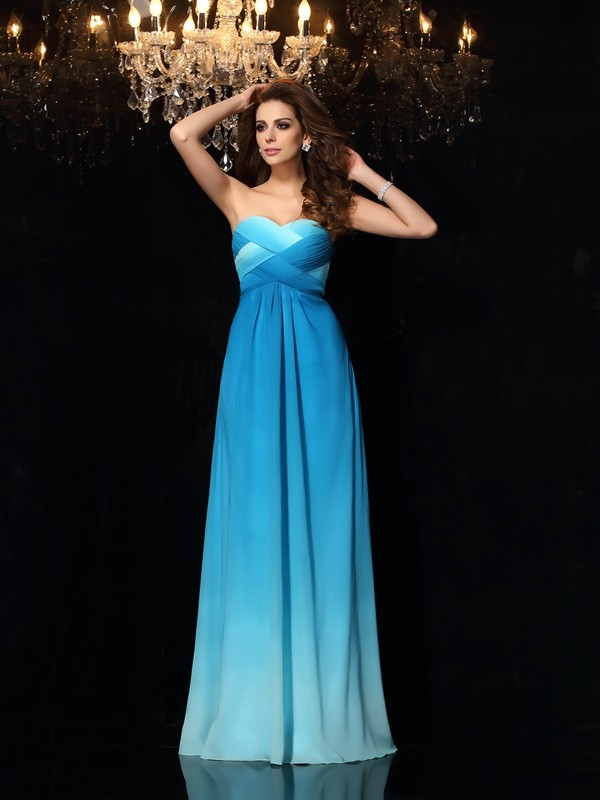 A-Line/Princess Sweetheart Ruched Sleeveless Long Chiffon Dresses
