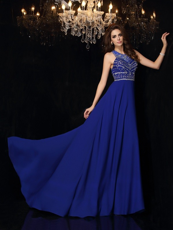 A-Line/Princess High Neck Beading Sleeveless Long Chiffon Dresses