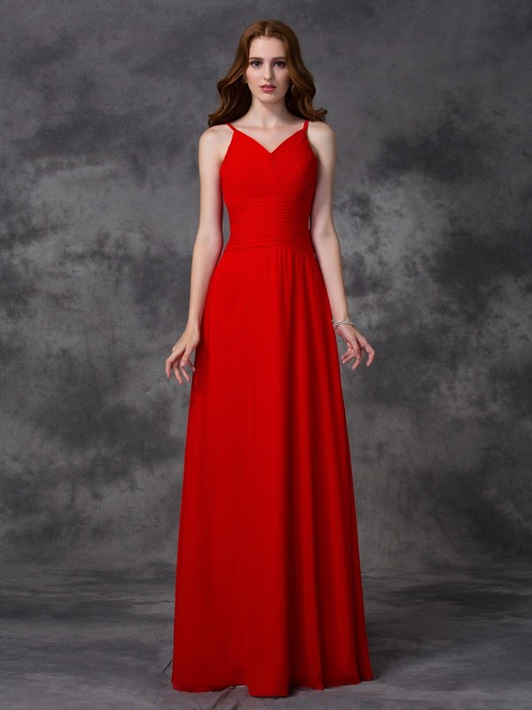 A-line/Princess Spaghetti Straps Ruffles Sleeveless Long Chiffon Bridesmaid Dresses