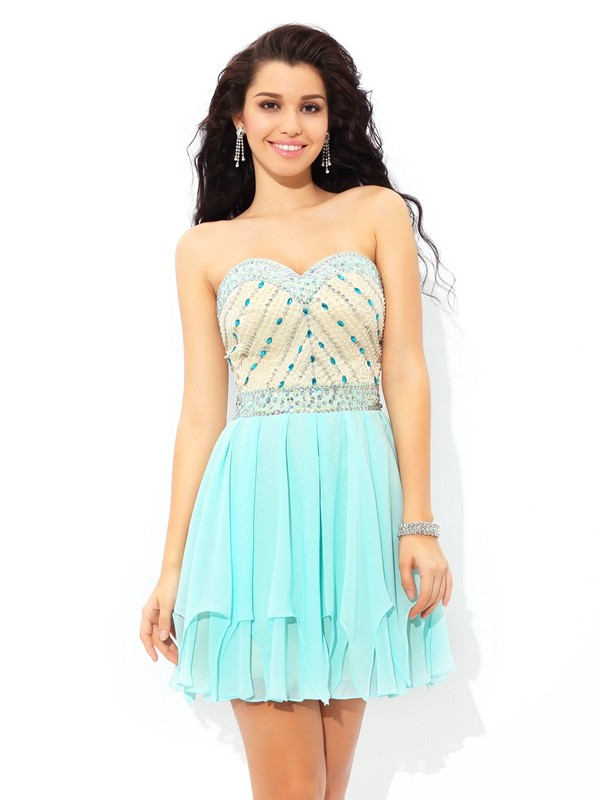 A-Line/Princess Sweetheart Beading Short Sleeveless Chiffon Cocktail Dresses