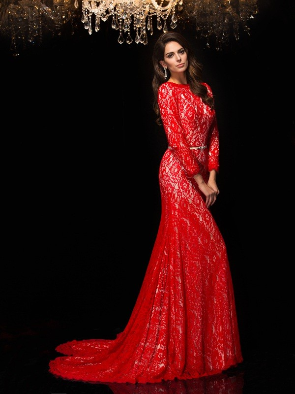 Sheath/Column Bateau Lace 3/4 Sleeves Long Lace Dresses