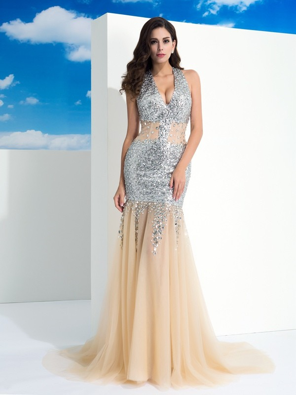 Sheath/Column Halter Paillette Sleeveless Long Net Dresses