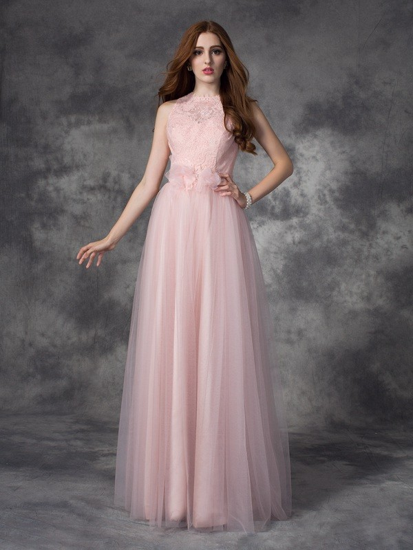 A-line/Princess Bateau Hand-Made Flower Sleeveless Long Net Dresses