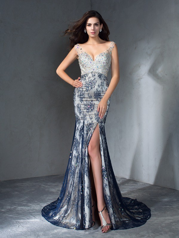 Trumpet/Mermaid V-neck Beading Sleeveless Long Lace Dresses