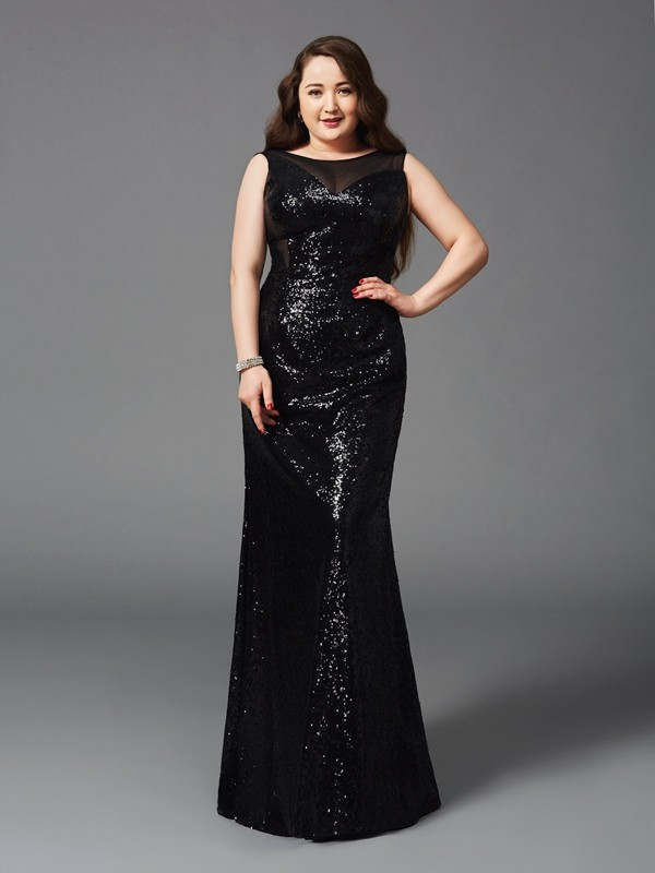 Sheath/Column Scoop Sleeveless Long Sequins Plus Size Dresses