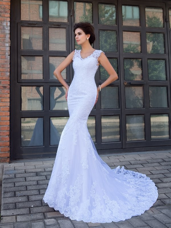 Trumpet/Mermaid V-neck Applique Sleeveless Long Satin Wedding Dresses