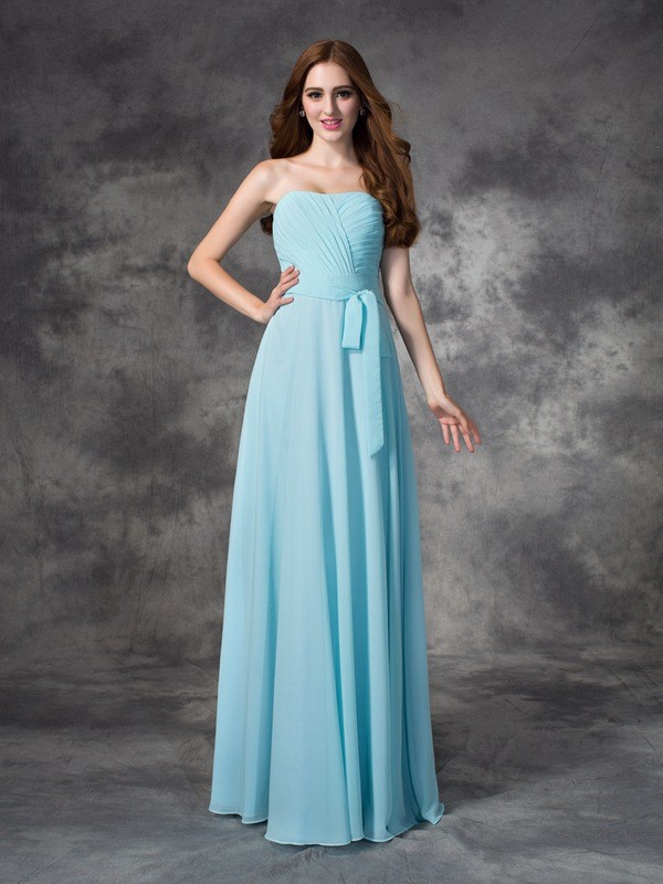 A-line/Princess Strapless Ruched Sleeveless Long Chiffon Bridesmaid Dresses