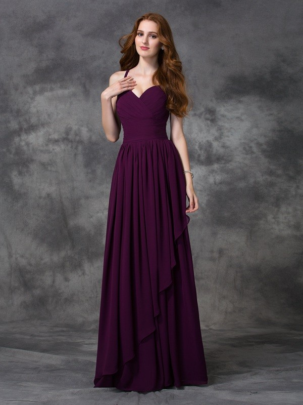 A-line/Princess Spaghetti Straps Sleeveless Long Ruffles Chiffon Bridesmaid Dresses