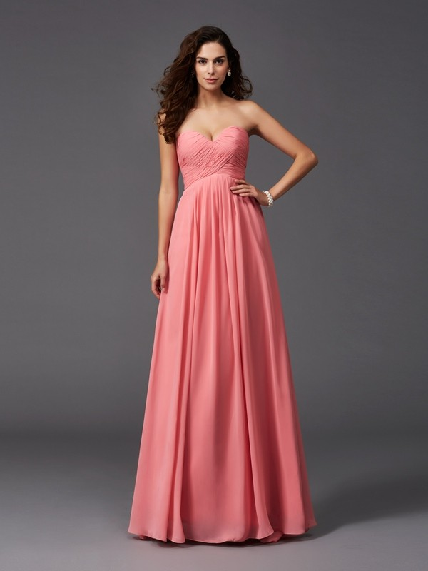 A-Line/Princess Sweetheart Ruffles Sleeveless Long Chiffon Bridesmaid Dresses