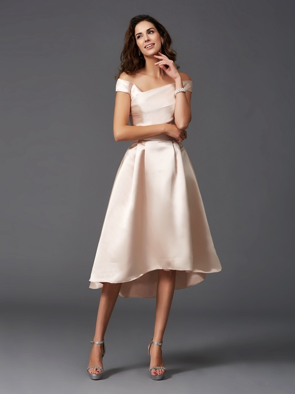 A-Line/Princess Off-the-Shoulder Sleeveless High Low Satin Bridesmaid Dresses