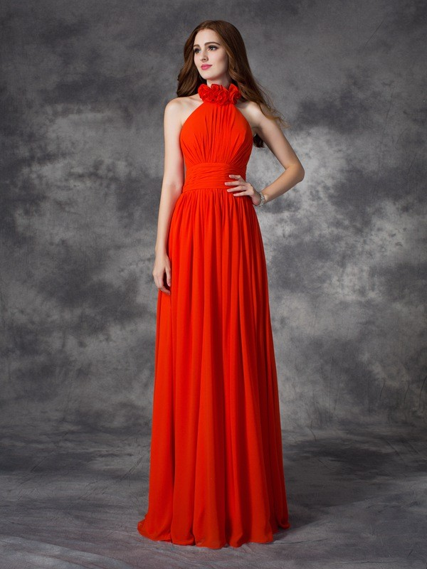 A-line/Princess Halter Hand-Made Flower Sleeveless Long Chiffon Bridesmaid Dresses