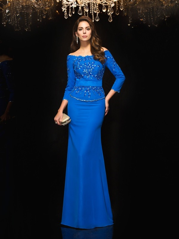 Sheath/Column Off-the-Shoulder Beading 3/4 Sleeves Long Chiffon Dresses