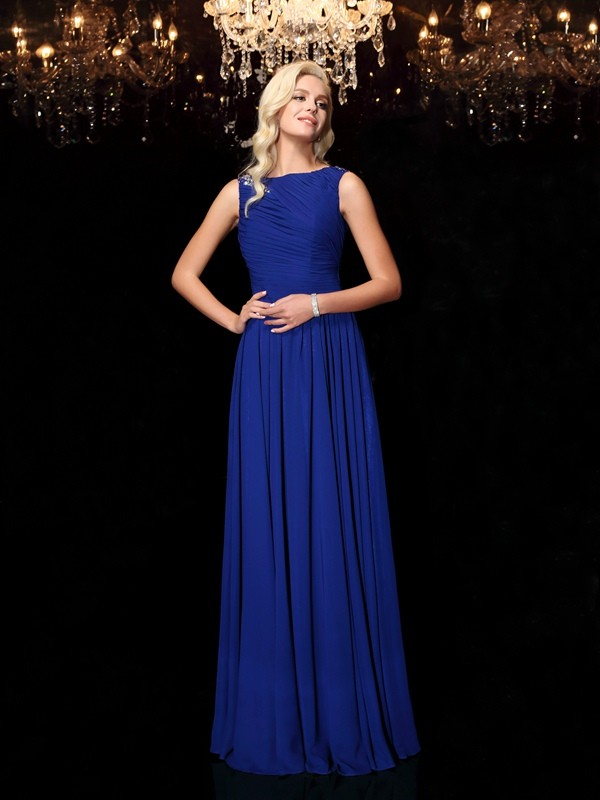 A-Line/Princess Bateau Rhinestone Sleeveless Long Chiffon Dresses