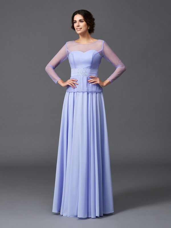 A-Line/Princess Scoop Ruffles Long Sleeves Long Chiffon Mother of the Bride Dresses