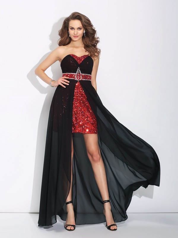 A-Line/Princess Sweetheart Sequin Sleeveless High Low Chiffon Dresses
