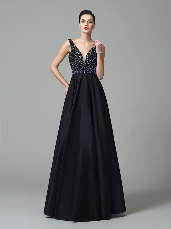 A-Line/Princess Straps Beading Sleeveless Long Taffeta Dresses