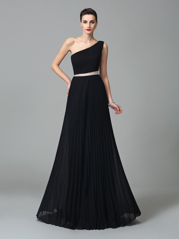 A-Line/Princess One-Shoulder Pleats Sleeveless Long Chiffon Dresses