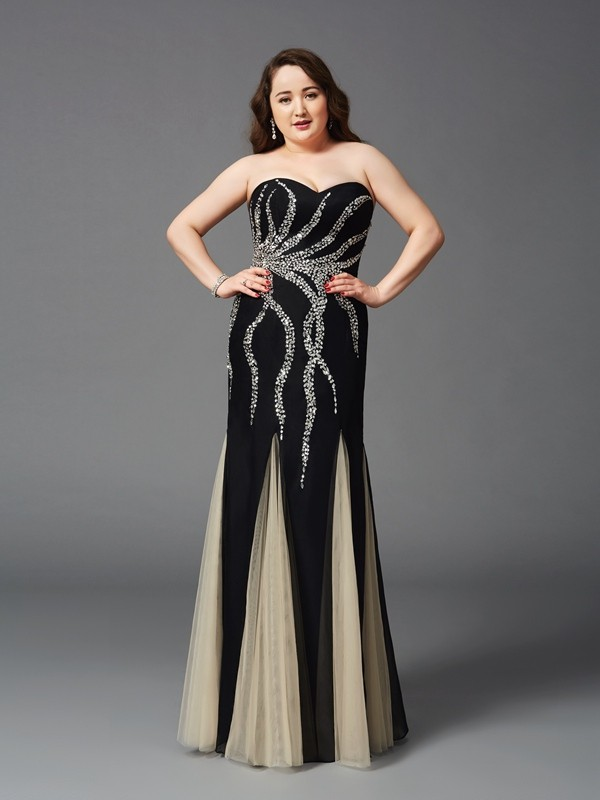 Sheath/Column Sweetheart Beading Sleeveless Long Chiffon Plus Size Dresses