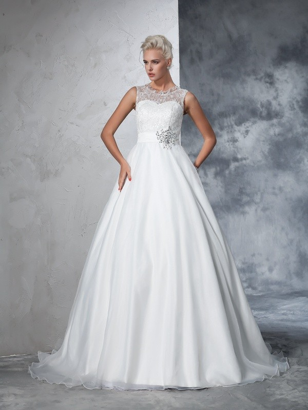 Ball Gown Sheer Neck Lace Sleeveless Long Net Wedding Dresses