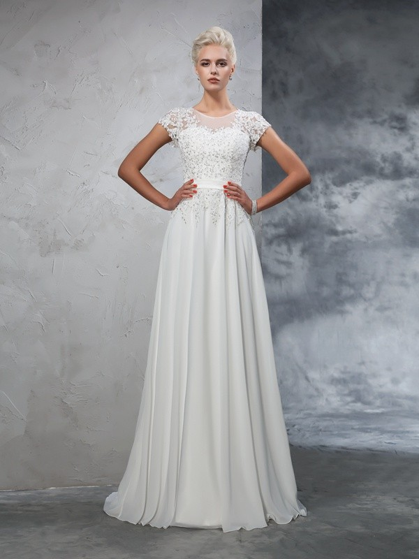 A-Line/Princess Sheer Neck Applique Short Sleeves Long Chiffon Wedding Dresses