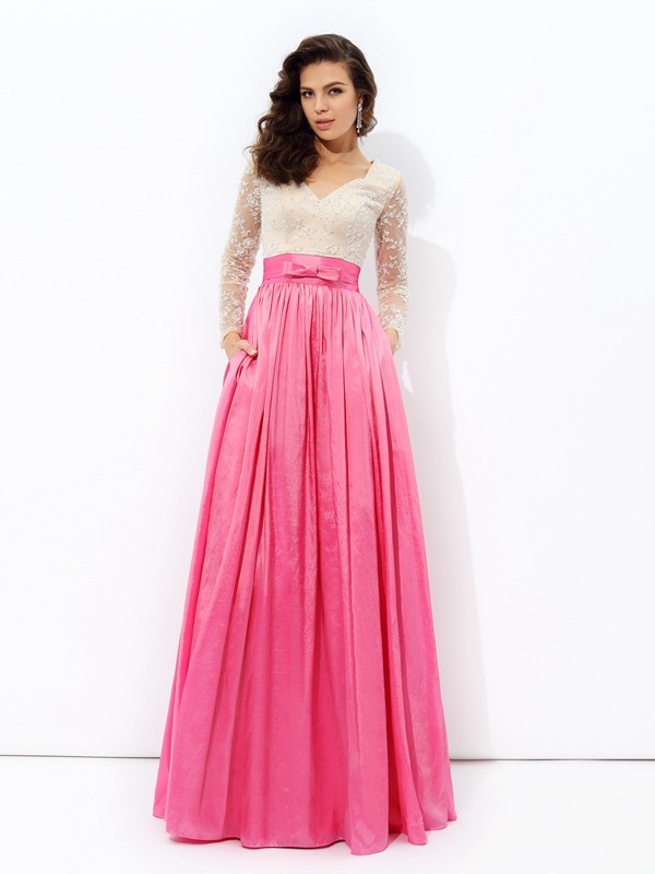 A-line/Princess V-neck Lace Long Sleeves Long Taffeta Dresses