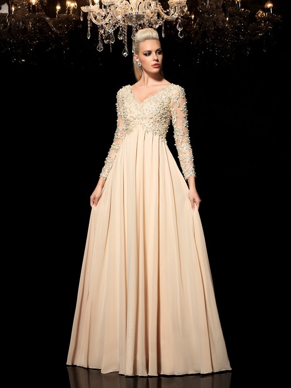 A-Line/Princess V-neck Applique Long Sleeves Long Chiffon Dresses