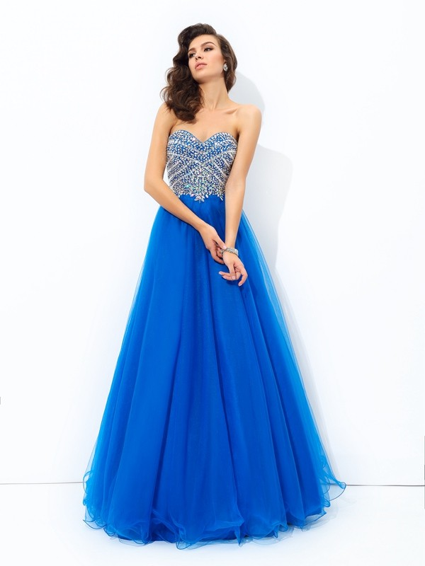 A-line/Princess Sweetheart Sequin Sleeveless Long Net Dresses