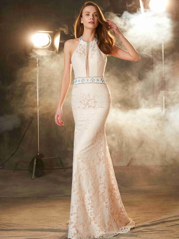 Sheath/Column Halter Sleeveless Floor-Length Lace Satin Dresses