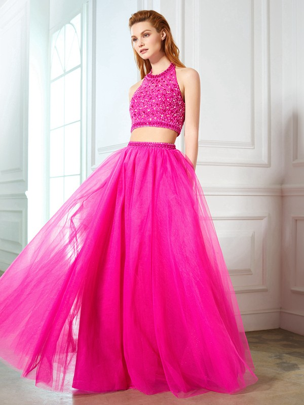 A-Line/Princess Halter Beading Sleeveless Net Floor-Length Two Piece Dresses