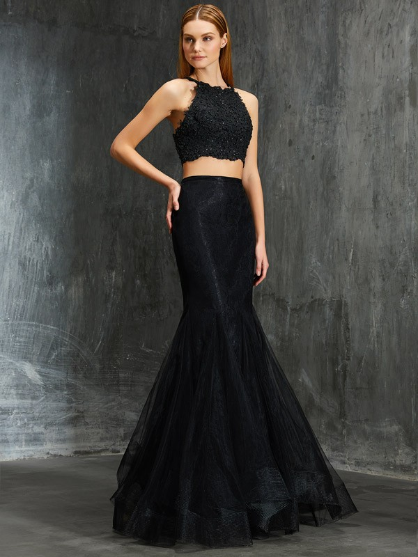 Trumpet/Mermaid Spaghetti Straps Sleeveless Applique Floor-Length Net Two Piece Dresses